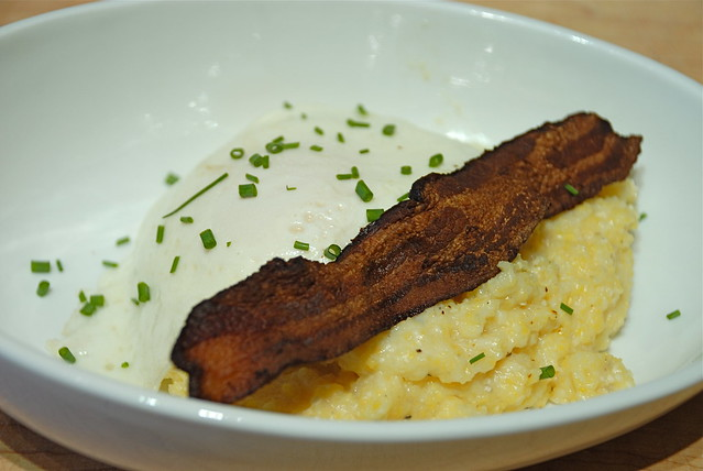 Egg over easy with bacon on polenta | Flickr - Photo Sharing!