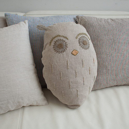 Embroidered owl pillow Flickr - Photo Sharing!
