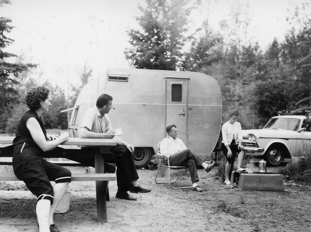 Langford Lake Campground, Bessemer Ranger District, Ottawa National Forest, Michigan. July 15, 1960 Photo by P. Freeman Heim