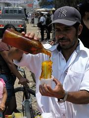 Raspado de maracuya - Passion fruit syrup covered ice cone; Jinotega, Nicaragua
