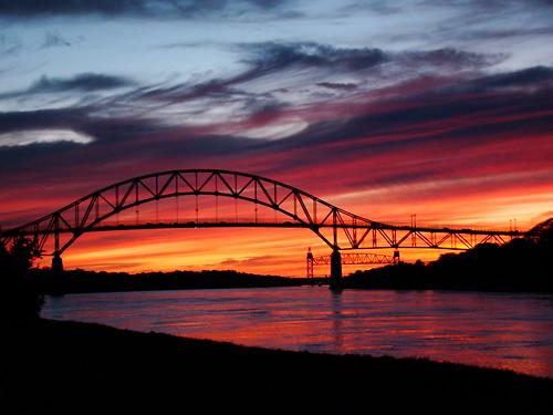 bridge sunset sky clouds canal capecod massachusetts bourne