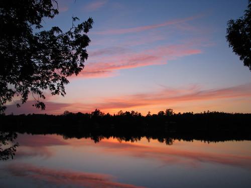 sunset lake water landscape
