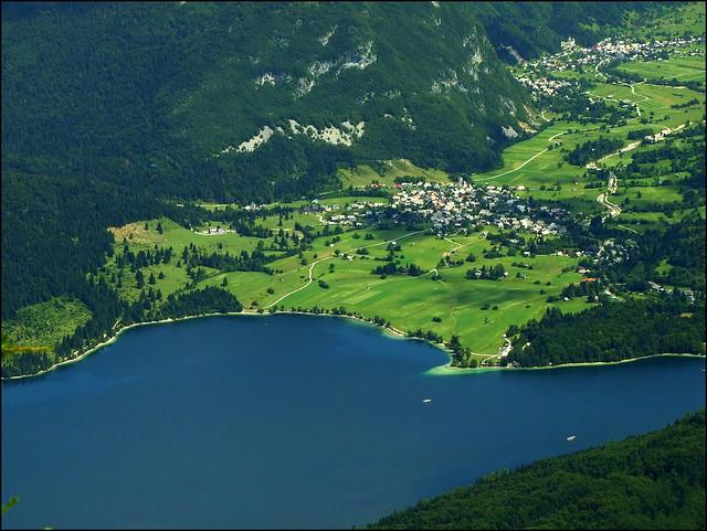 Bohinj lakeside from air