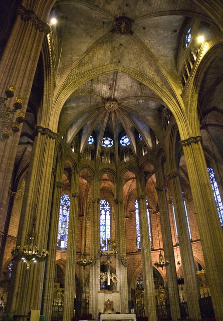 Inside La Seu Cathedral in Barcelona, Spain
