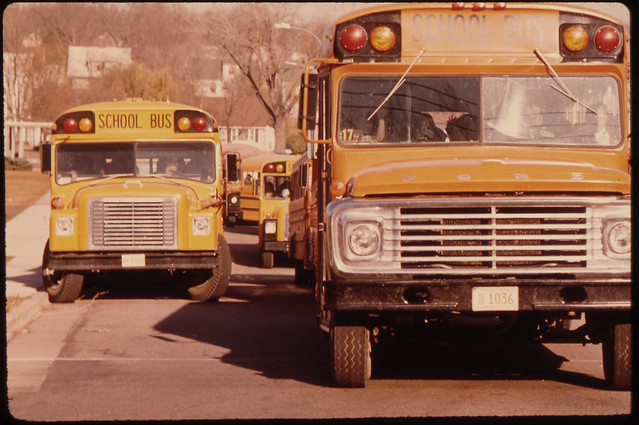 Students Arriving by School bus at Senior High School in New Ulm, Minnesota ..., 10/1974