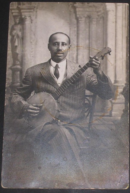 African American man with banjo