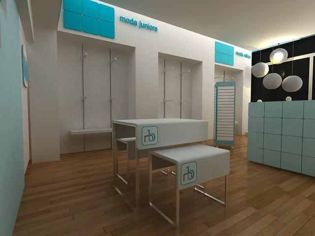 Diseño de Muebles para tiendas infantiles. Concepto de Diseño de Tienda. CUBO...