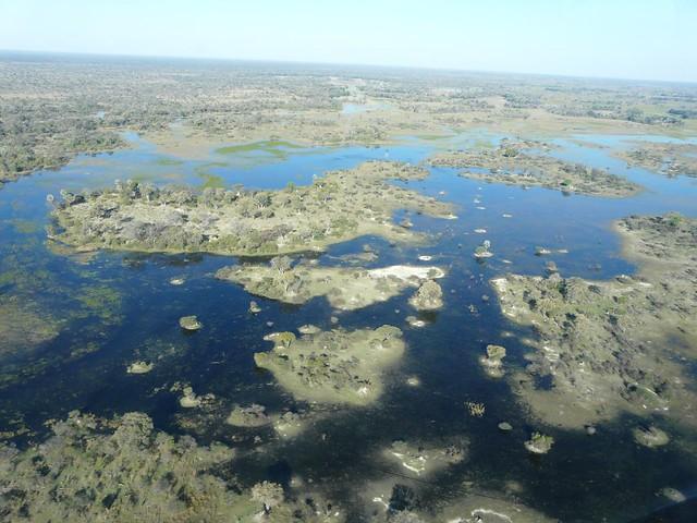 El delta del Okavango a vista de avioneta