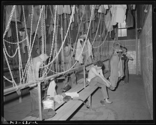 Miners Changing Clothes in Wash and Change House