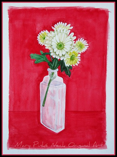 Chrysanthemums on Red