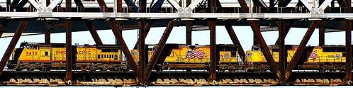 california railroad bridge train 6ws sixwordstory steelbridge locomotive benicia railroadbridge usflag oldglory uprr carquinezstrait beniciamartinezbridge unionpacificrailroad flagoftheunitedstatesofamerica