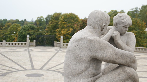 Father talking to son at the Vigeland Statue Park