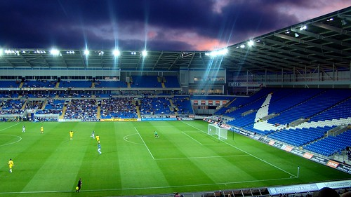 Night begins to fall over Cardiff City Stadium