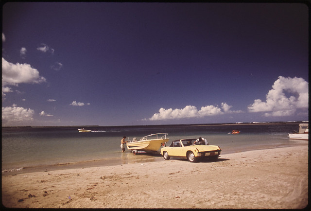 DOCUMERICA: Boat Launching From Luguillo Beach San Juan, Puerto Rico 02/1973 by John Vachon.