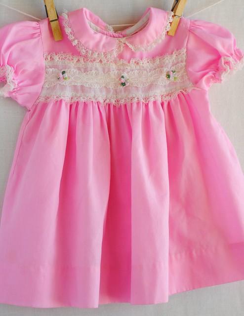 Vintage Pink Lace Yoke Dress