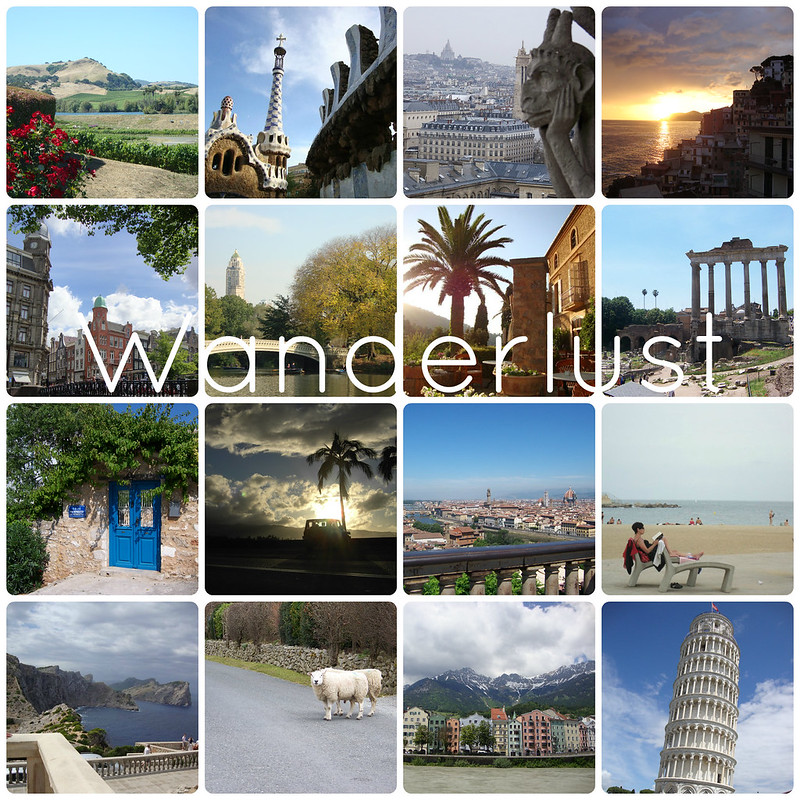 Wanderlust travel collage_California_New York_Greece_Italy_France_Hawaii_Spain_Austria_Ireland_Netherlands
