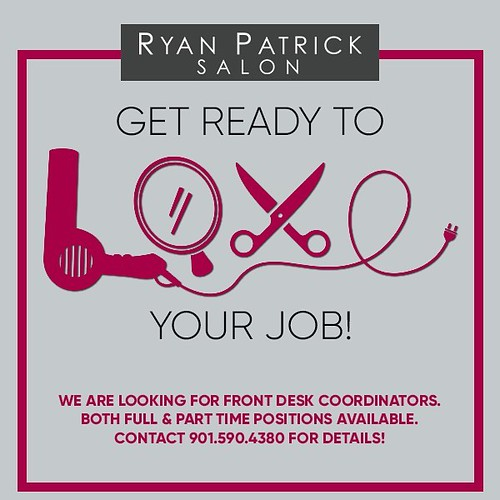 Ryan Patrick Salon is hiring! We're looking for front desk coordinators to join our team. Part time and full time positions available. Call 901.590.4380 for details! #salonjobs #memphisjobs #choose901