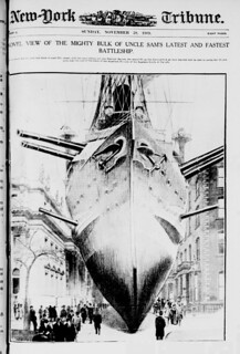 Novel view of the mighty bulk of Uncle Sam's latest and fastest battleship (LOC)