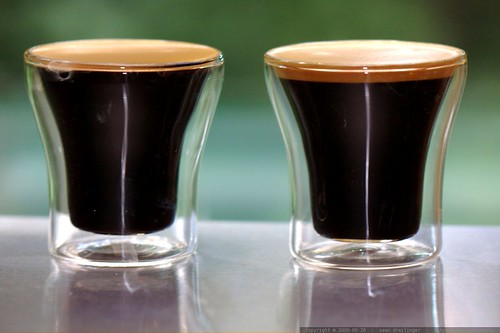 espresso shots   left is timor peaberry, right is ethiopia moreno    MG 6460