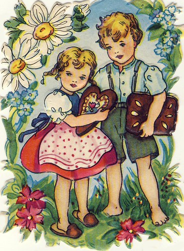 Vintage German Die-Cut of Hansel and Gretel