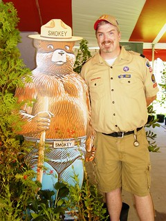 scout leader and smokey the bear
