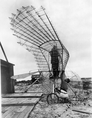 Ornithopter and creator George R. White at St. Augustine