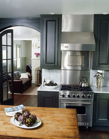 Painted kitchen cabinets dark gray ralph lauren 39 surrey for Painting kitchen cabinets black
