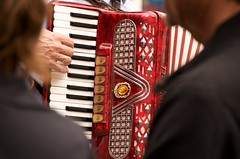 diatonic button accordion(0.0), wind instrument(0.0), accordion(1.0), red(1.0), folk instrument(1.0),