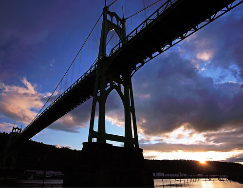 ian sane st johns sunset bridge cathedral park willamette river oregon clouds blue sky canon eos 5d mark ii stjohnsbridge