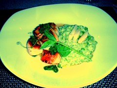 asparagus risotto & diver scallops topped with…