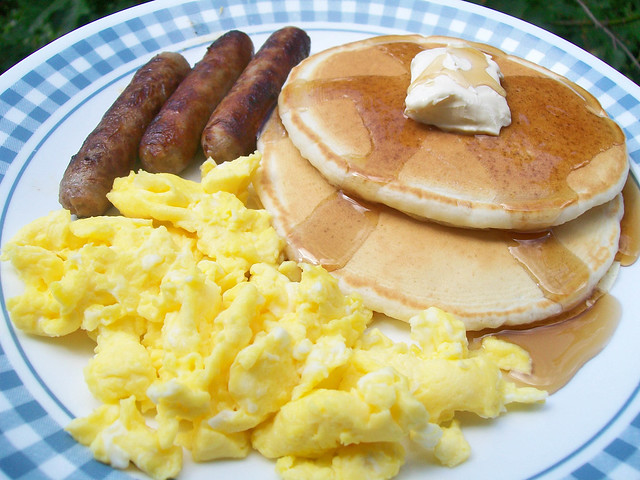 eggs with pancakes