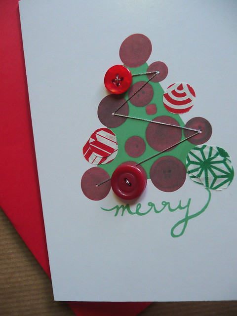 happy holidays hand sewn christmas card blank single