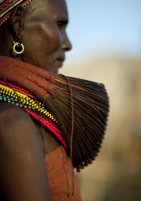Married Rendille woman with Mpooro Engorio necklace - Kenya