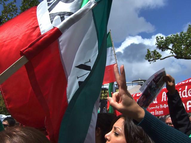 Waving flags and shouting slogans