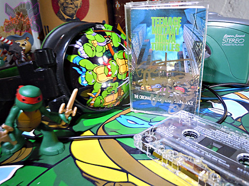 TEENAGE MUTANT NINJA TURTLES: THE ORIGINAL MOTION PICTURE SOUNDTRACK; Cassette Tape // Signed by Partners in Kryme's RICHARD USHER & KEVIN EASTMAN i (( 1990 ))