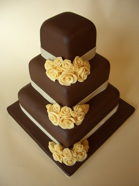 Chocolate Wedding Cake with White Choclate hand made flower decorations