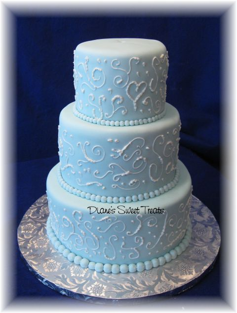 light blue wedding cakes light blue fondant wedding cake with scrolls this tiered 16856