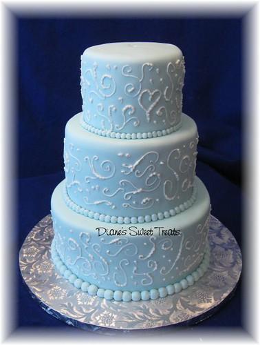 light blue fondant wedding cake with scrolls | Flickr ...