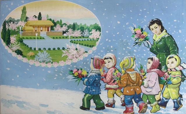 Propaganda poster showing kids going to Mangyongdae Kim Il Sung Native house - North Korea