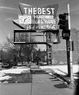"""A Sign of the Times"" - South Side of Chicago - EOS 1n   EF 28mm f/2.8 IS USM on Ilford Pan F 50 - Feb 2014 - 010"