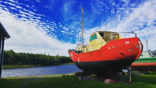 boat ship museum sky skyship shipyard clouds finland vaasa