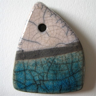 Raku ceramic pendant in white, turquoise and black (triangular)