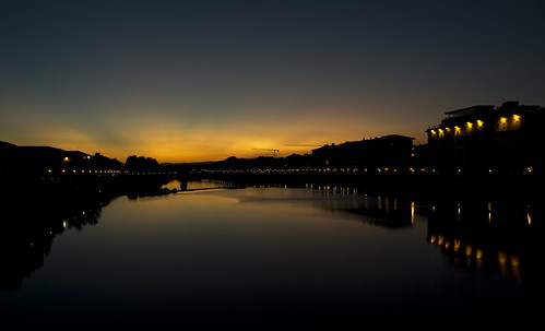 Florence by night: The arno river under