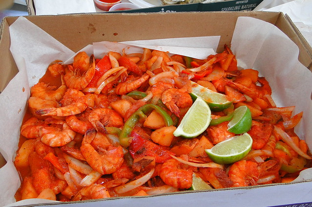 1 1 2 lbs of large shrimp with sauteed bellpeppers for Port o call san pedro fish market