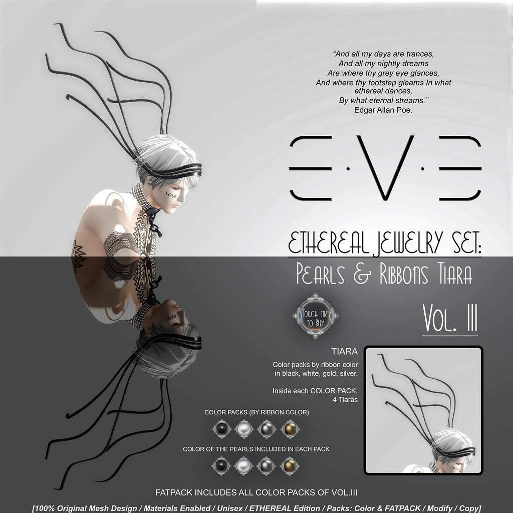 E.V.E ETHEREAL Pearls and Ribbons Tiara {Colors} - SecondLifeHub.com