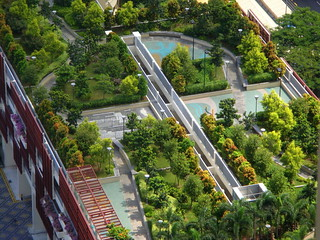 Rooftop Garden  viewed from 40th Storey HDB beside the Commonwealth MRT Singapore