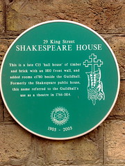Photo of Shakespeare House green plaque