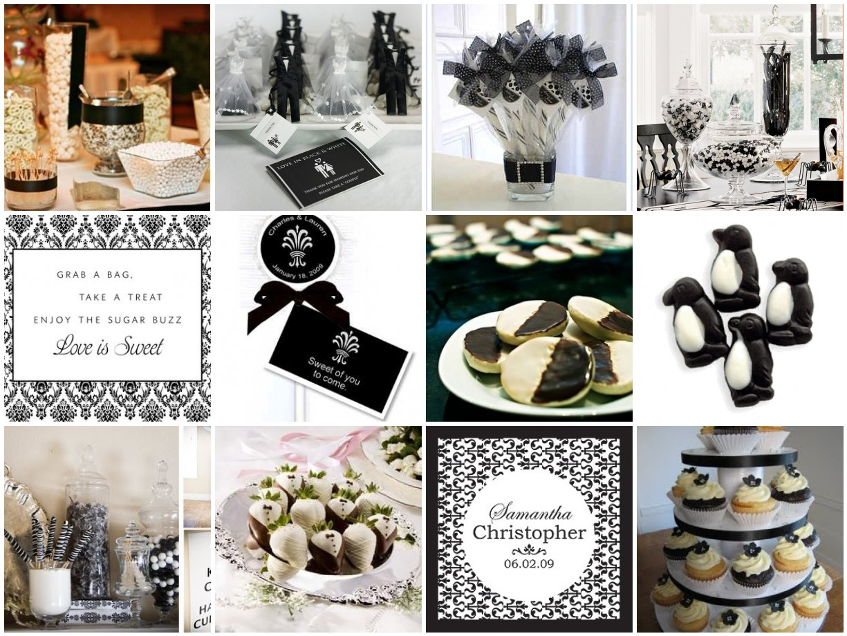 Elegant black white wedding candy buffet a photo on flickriver - Black and white wedding theme centerpieces ...