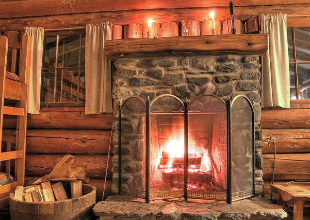 Rustic log cabin fireplace flickr photo sharing for Cabin fireplace pictures