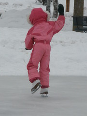 Olivia Waving and Skating
